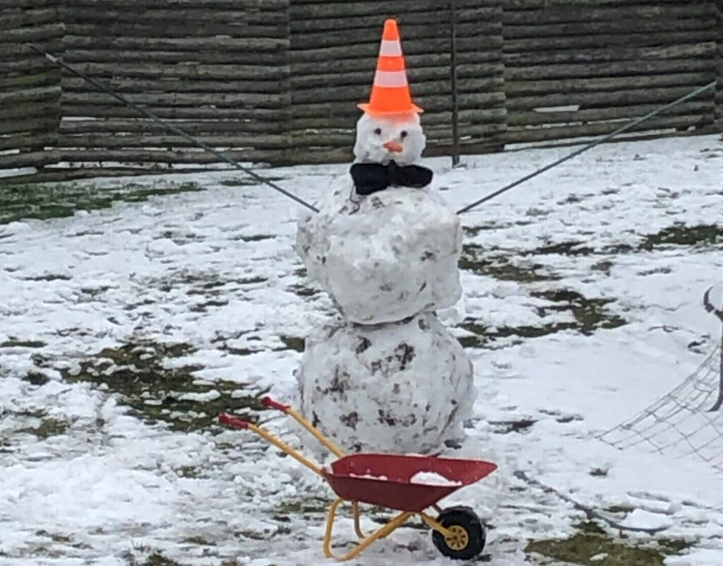 Sne nok til at bygge en snemand (Foto: Ferieogbørn.dk)